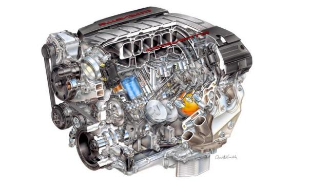 Cutaway view of 2014 Chevrolet Corvette V8 engine (General Motors)