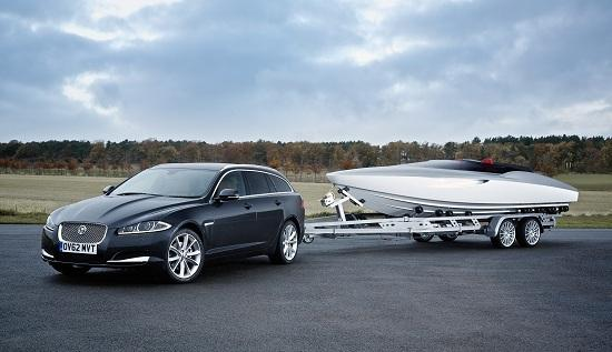 Jaguar Speedboat, towed by the new XF Sportbrake. (c) Jaguar