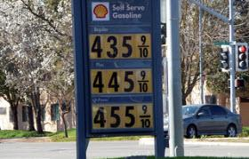 High gas prices in March of 2012 in California. Photo courtesy of Flikr user basykes&#10;