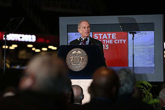 New York City Mayor Michael Bloomberg speaks at the State of the City address on Feb. 14, 2013. (c) Spencer T Tucker)