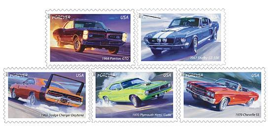 Forever Muscle Car Stamps (c) USPS