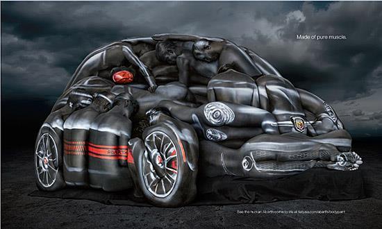 Fiat 500 Abarth Human body ad in ESPN Magazine (c) Fiat