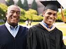Image: Portrait of young man in graduation gown with father on campus (© Thomas Barwick/Digital Vision/Getty Images)