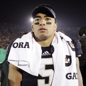 File photo of Notre Dame linebacker Manti Te'o on Nov. 17, 2012 (© Michael Conroy/AP Photo)