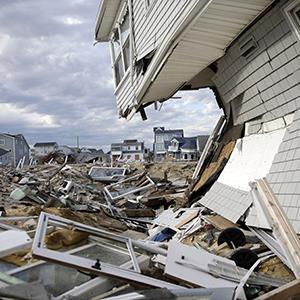 Homes destroyed last October by Superstorm Sandy are seen Thursday, April 25, 2013, at Ortley Beach, in Toms River, N.J. (© Mel Evans/AP Photo)