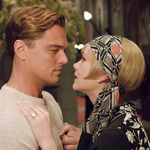 Carey Mulligan as Daisy Buchanan, right, and Leonardo DiCaprio as Jay Gatsby in a scene from