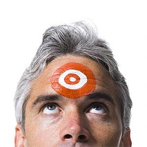man with target on his forehead