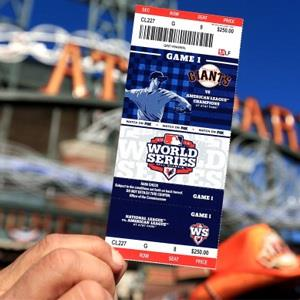 A detail of a fan holding up a ticket prior to the San Francisco Giants hosting the Detroit Tigers during Game One of the Major League Baseball World Series