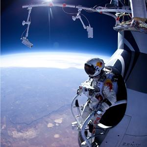 Credit: Jay Nemeth/Red Bull via Getty ImagesCaption: In this photo provided by Red Bull, Pilot Felix Baumgartner is seen before his jump during the first manned test flight for Red Bull Stratos on March 15, 2012 in Roswell, New Mexico