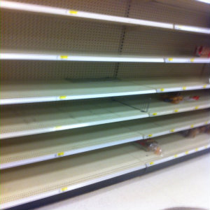 Empty shelves at Target store. Photo credit: Jonathan Berr