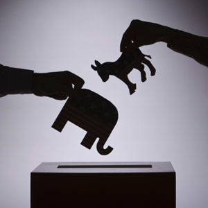 People putting political symbols in box copyright Comstock Images, Getty Images