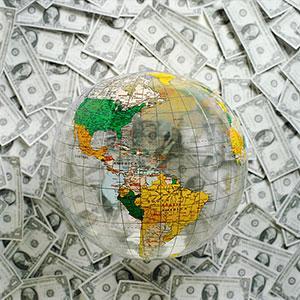 Image: Globe with money (PhotoAlto/SuperStock)