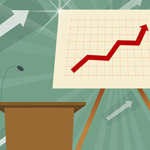 Microphone on a lectern with a line graph Image Source Photolibrary