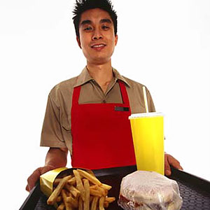 Image: Fastfood working copyright Creatas, PictureQuest