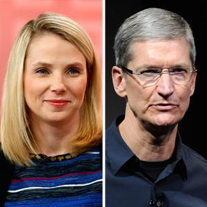 Yahoo CEO Marissa Mayer in February 2013; Apple CEO Tim Cook in October 2011 (© Peter Kramer/NBC/NBC NewsWire via Getty Images; Kevork Djansezian/Getty Images)
