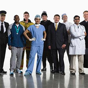 Variety of professionals standing together copyright altrendo images, Stockbyte, Getty Images