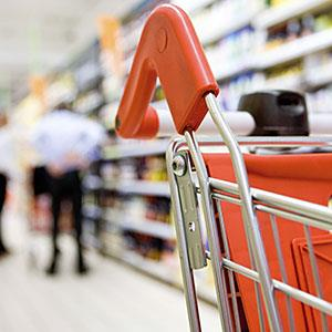 Shopping cart in supermarket copyright PhotoAlto, James Hardy, PhotoAlto Agency RF, Getty Images