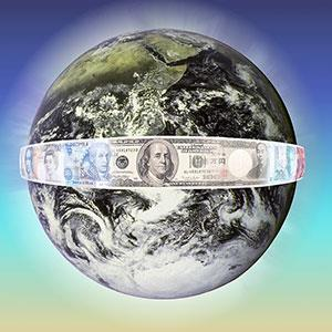 Image: Earth encircled by money copyright Bob Jacobson, Corbis