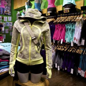 Athletic apparel sits on display at the Union Square Lululemon retail store in New York