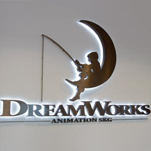DreamWorks Animation signage during a ground breaking opening of DreamWorks studios