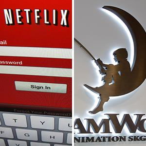 Netflix login screen; DreamWorks Animation sign at DreamWorks Studios in Redwood City, Calif. (© Mike Blake/Newscom/Reuters; Paul Sakuma/AP Photo)