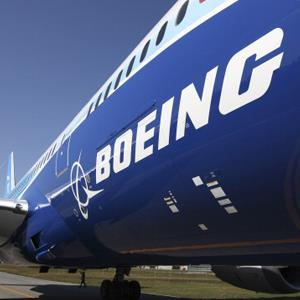 The Boeing Co. logo is seen on the fuselage of the company's 787 Dreamliner