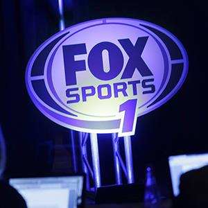 A logo for the new Fox Sports 1 channel is displayed during a news conference in New York on March 5, 2013 (copyright Seth Wenig/AP Photo)