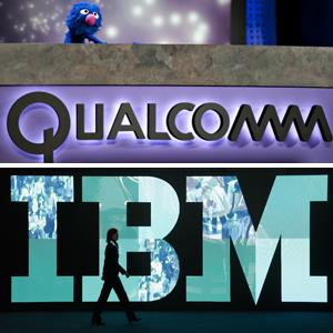 (From top) Sesame Street's Grover at the Qualcomm presentation during the 2012 CES show in Las Vegas; The IBM logo at the CeBIT trade fair in Hanover, Germany, on February 28, 2011 (© Daniel Acker/Bloomberg via Getty Images; Sean Gallup/Getty Images)