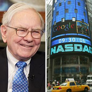Warren Buffett ; NASDAQ Market site in New York City (© Nati Harnik/AP Photo; Kathy Willens/AP Photo)