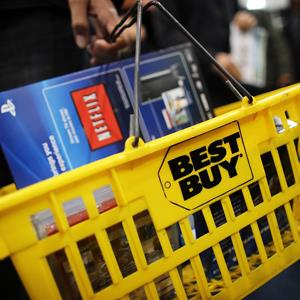 Best Buy logo on a shopping basket