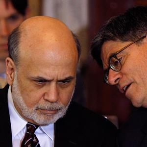 Fed Chairman Ben Bernanke, left, with Treasury Secretary Jack Lew. © Gary Cameron/Reuters