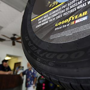 Goodyear Tire & Rubber Co. tires are displayed for sale at Certified Tire and Service Centers, a Goodyear dealership in Huntington Beach, Calif. on July 29, 2013 (© Patrick T. Fallon/Bloomberg via Getty Images)