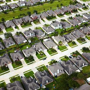 Aerial view of Houston neighborhood © Ocean/Corbis/Corbis
