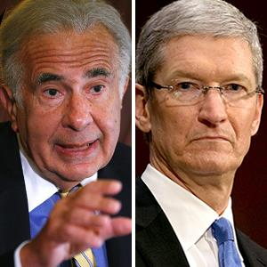 Investor Carl Icahn ; Apple CEO Tim Cook. © Chip East/Reuters ; © Alyson Fligg/Rex Features