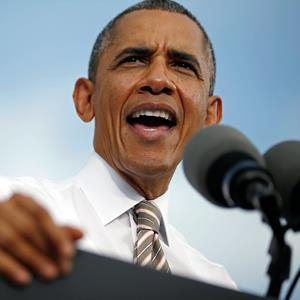 President Obama delivers remarks on the government funding impasse in Rockville, Md., on Thursday (© Jason Reed/Reuters)