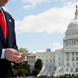 A politician counting money in front of the US Capitol Building © Antenna, fStop, Getty Images