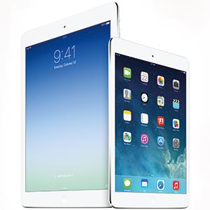The recently announced iPad Air and upgraded iPad Mini from Apple. © Courtesy of Apple