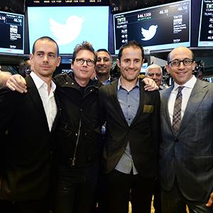 (From left) Twitter co-founders Jack Dorsey, Christopher Isaac 'Biz' Stone, Evan Williams & Twitter CEO Richard 'Dick' Costolo pose for a photo on the trading floor of the New York Stock Exchange (NYSE) on November 7, 2013 in New York.