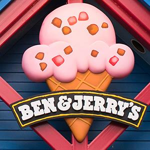 Caption: Ben & Jerry's ice cream sign at the visitors center