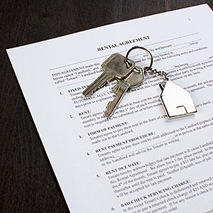 Logo: A rental agreement and two keys on a house shaped key ring (Epoxydude, fStop, Getty Images)