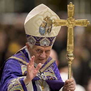 Pope Benedict XVI leaves at the end of a Vespers prayer in St. Peter's Basilica at the Vatican, Saturday, Dec. 1, 2012 (Andrew Medichini/AP Photo)