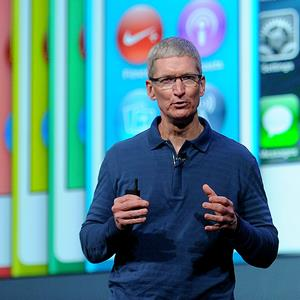 Credit: Noah Berger/Bloomberg via Getty ImagesCaption: Tim Cook, chief executive officer of Apple Inc