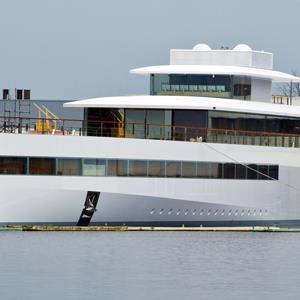 The yacht ordered by Apple's late founder Steve Jobs remains docked at the De Vries shipyard in Aalsmeer, the Netherlands, on October 29, 2012 (ED OUDENAARDEN/AFP/Getty Images)