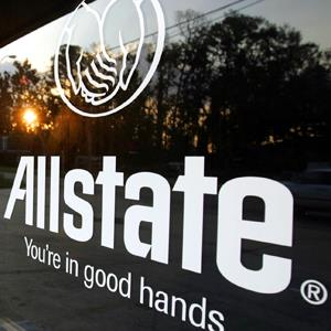 An Allstate logo is shown in at an office in Slidell, Louisiana (LM Otero/AP Photo)