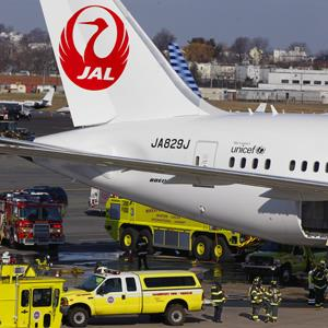 A Japan Airlines Boeing 787 Dreamliner jet aircraft is surrounded by emergency vehicles at Logan International Airport in Boston on Monday, Jan. 7, 2013 (Stephan Savoia/AP Photo)