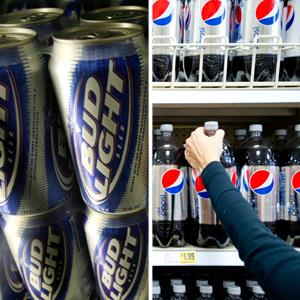 Bud Light in a cooler at the Toluca Mart liquor store in Los Angeles; A shopper reaches for a bottle of PepsiCo Inc.'s Diet Pepsi soda ( Fred Prouser/Reuters; Chris Rank/Bloomberg via Getty Images)