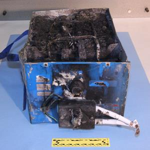 Credit: Courtesy of the NTSB&#xA;Caption: NTSB photos of the burned auxiliary power unit battery from a JAL Boeing 787 that caught fire on Jan. 7 at Boston's Logan International Airport
