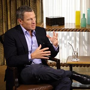 Image: Oprah Winfrey interviewing cyclist Lance Armstrong during taping for the show