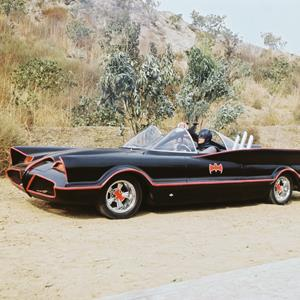 Adam West as Bruce Wayne/Batman at the wheel of the Batmobile in the TV series 'Batman' in 1966 (Silver Screen Collection/Hulton Archive/Getty Images)