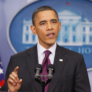 U.S. President Barack Obama holds a news conference from the White House /Larry Downing/Reuters 